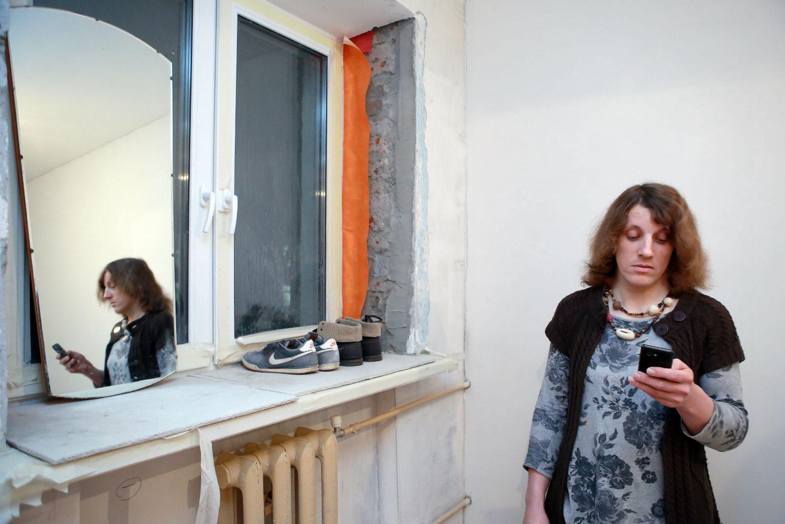Alina in her apartment