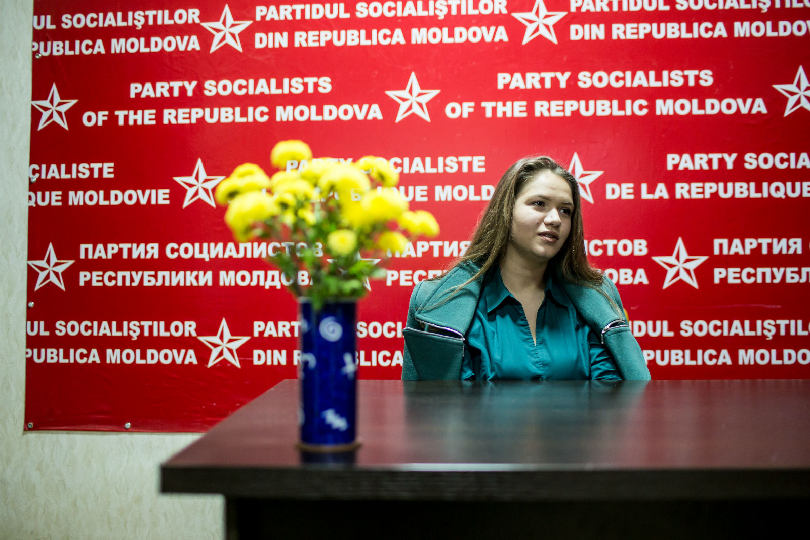 Ecaterina Medvedeva, a member of the Socialist Party's Young Guard, sitting in the party's headquarters.