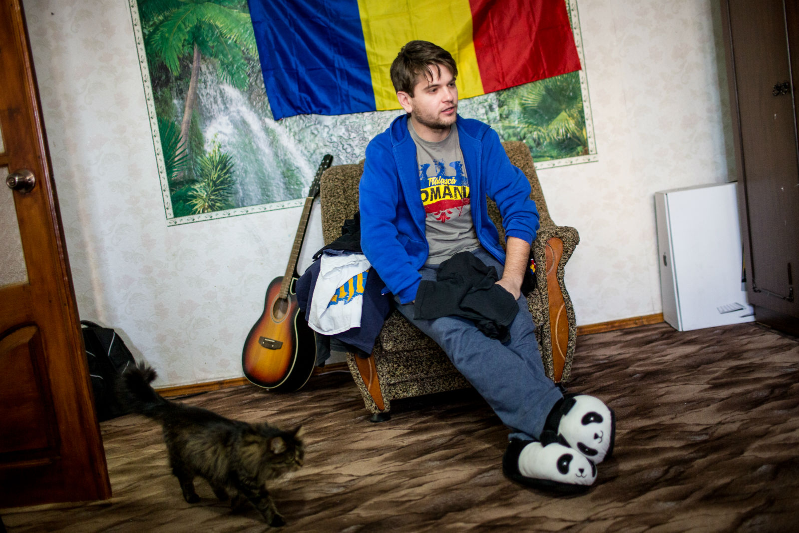Anatol Ursu, the leader of the unionist organization Youth of Moldova, in his apartment in the suburbs of Chișinău.