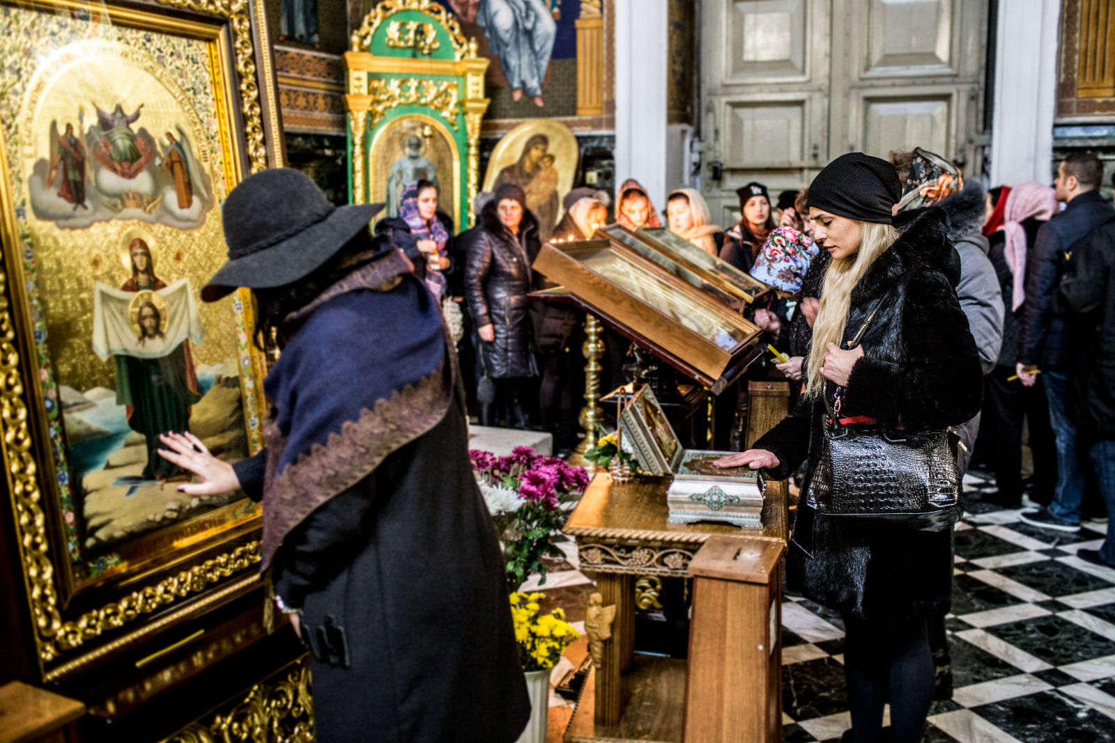 Women praying in Orthodox church in Chișinău.