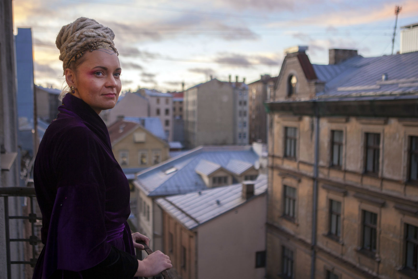 Inese Indāne, who goes by the name Inin Nini, at her friend's studio in Riga